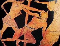 Dans le labyrinthe, Thésée tue le Minotaure